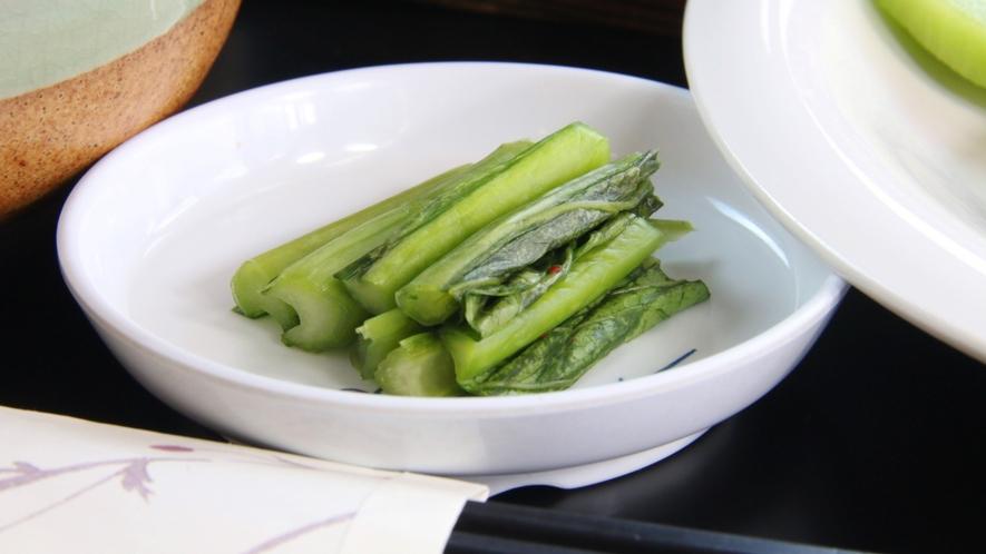 夕食 単品 野沢菜漬