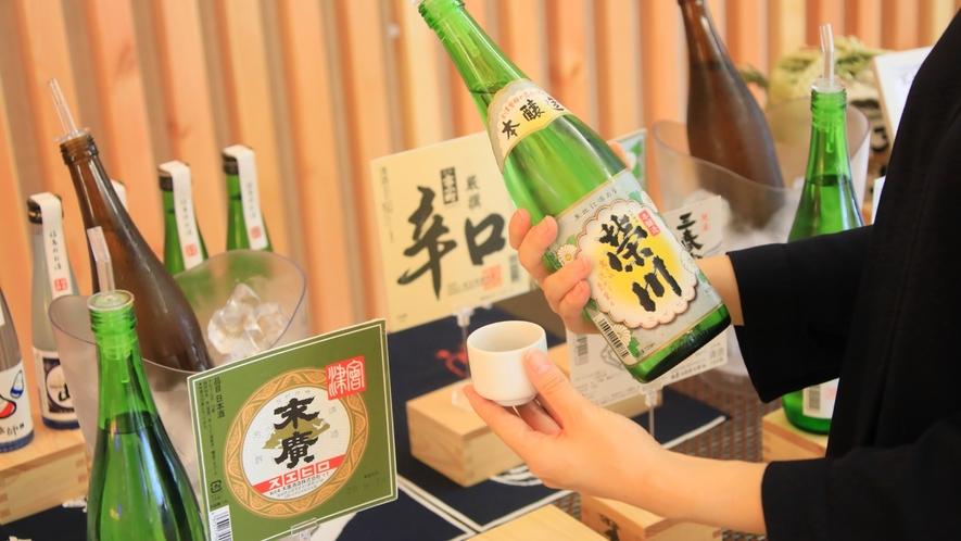 ★【日本酒バー「KAKU-UCHI」】ロビーでちょっとずつ、おいしい日本酒を飲み比べて♪