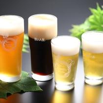 ビール飲み比べプランの4種類:ペールエール、ポーター、美山ブロンド、期間限定ビール