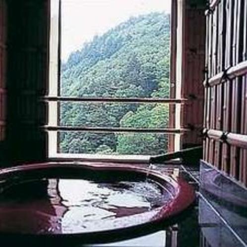 温泉付き客室では、目の前に広がる大自然を眺めながら、源泉掛け流しの温泉をお楽しみください