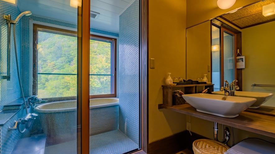 和モダン客室 開放感あふれる温泉付き風呂