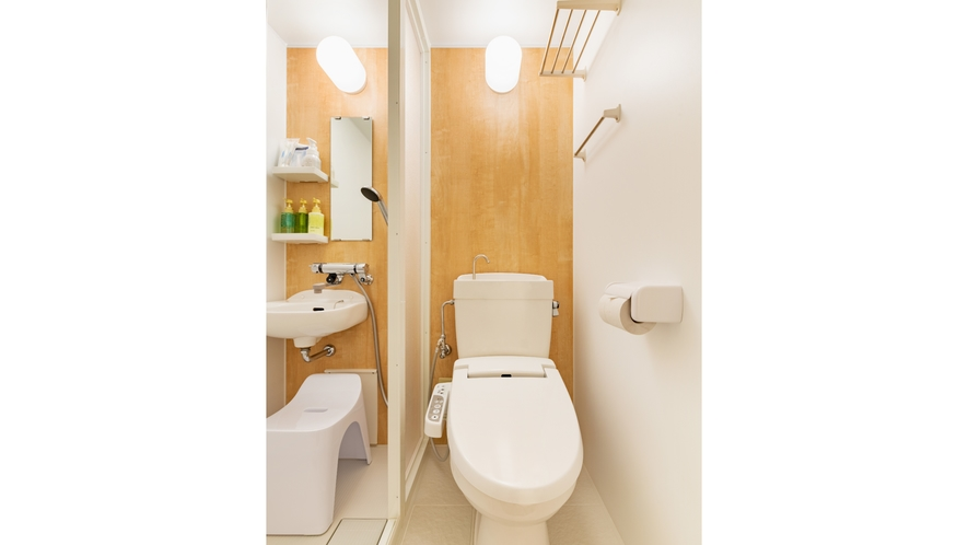 シャワーユニット・トイレ付きのダブルルーム