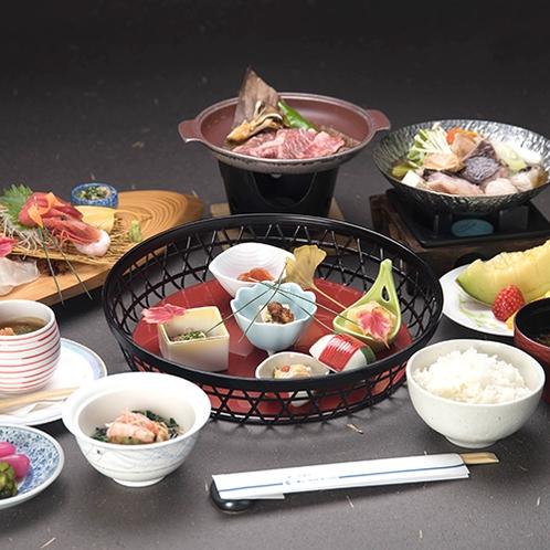*夕食一例/房総の旬味・新鮮な山海の幸に彩りを添えてご用意します。