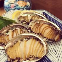 お盆限定ディナーメニュー「本日の鮮魚のお造里・活あわびのお造里」