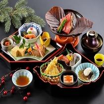 【湯治プラン/朴葉焼き付き】お食事イメージ。こちらにご飯が別に付きます。10月からは「和牛しゃぶしゃ