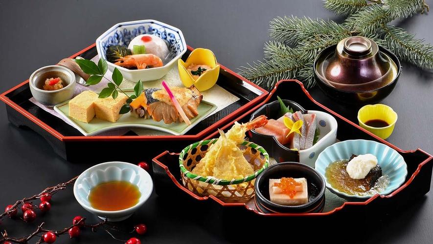 【湯治プラン】お食事イメージ。こちらにご飯とが別に付きます。