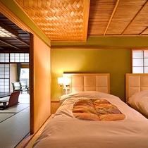 【春の館 和洋室】人気のベッドルーム付きの客室、和室とベッドルームの2間続きの和洋室。