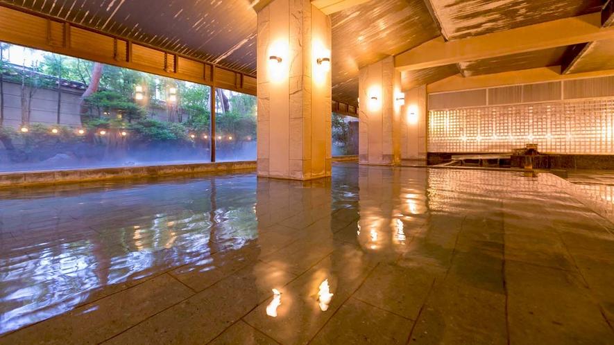 【豊明(ほうめい)】男性大浴場。1300年から湧く効能豊かな湯をお楽しみください。