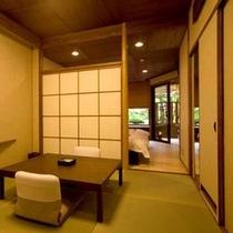 【露天風呂付(一例)】2階にある露天風呂付き客室。プライベート性重視の方や記念日におすすめ