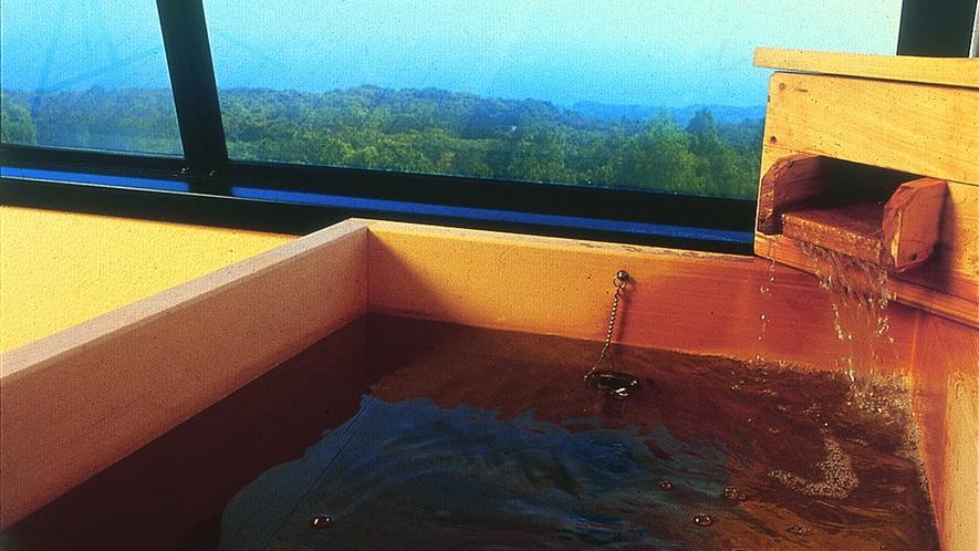 客室露天風呂一例(桧)