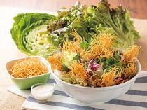 長崎発祥のちゃんぽん同等、地元で愛されている麺料理「皿うどん」。パリッパリの麺をサラダと一緒に!