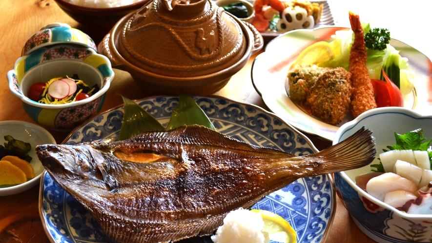 ナメタカレイ焼きとモヨロ鍋(一例)
