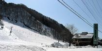 国道より尾瀬檜枝岐温泉スキー場を望む