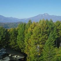 *客室からの眺望一例/右のとんがった山が妙高山、左の丸みを帯びた山が黒姫山