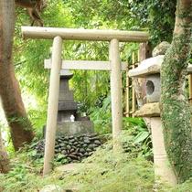 月の間 温泉上の神社