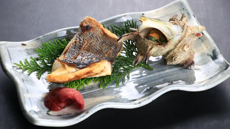 旬魚とサザエのつぼ焼き