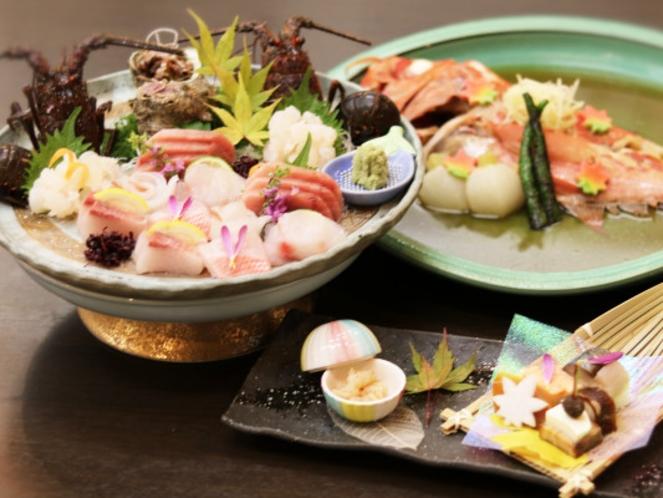 【超特選】美食の極みコースの伊勢海老付豪華刺盛・金目鯛煮付・前菜のイメージ