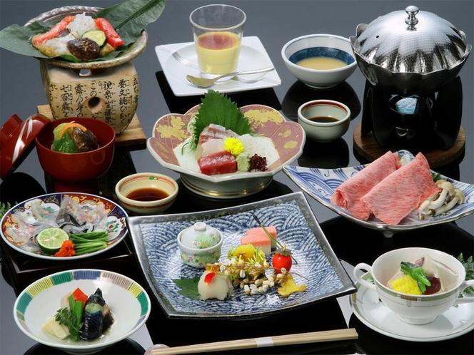 季節の前菜や黒毛和牛しゃぶ、旬の地魚を食す、一番人気の基本和会席。(イメージ)