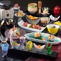 清里の食材を豪華に味わえる「特選贅沢を尽くした和会席コース」 一例