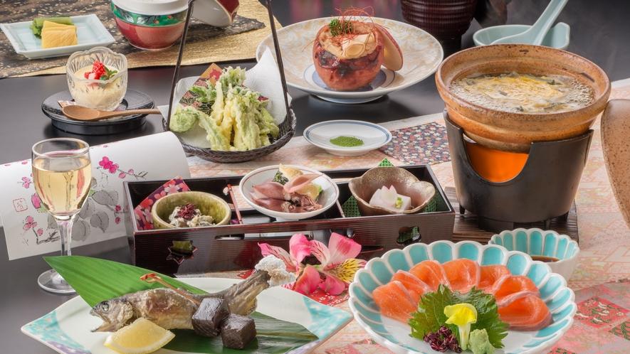 信州を味わう調理長自慢の『安曇野会席』(ご夕食一例)