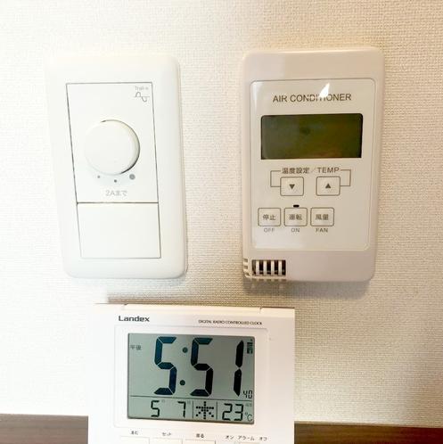 客室内エアコンと調光のコントローラー