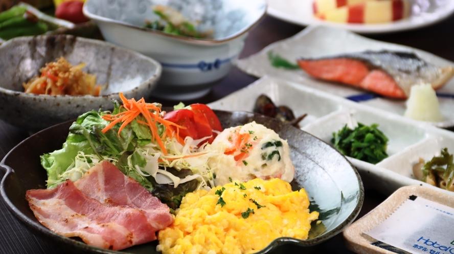 【朝食の一例】地元の野菜をつかった、やさしい朝食。