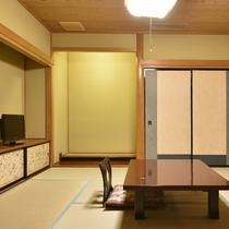 【女性に人気の和洋室/和室8畳+セミダブルベットのツインルーム一例】