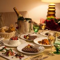 ルームサービスの夕食と、ケーキ・スパークリングワイン