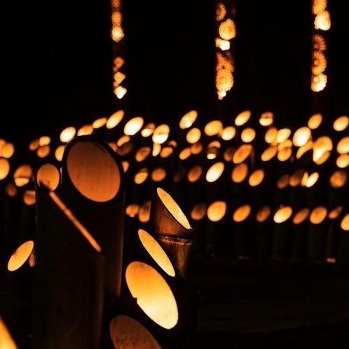 【竹灯りの夕べ】奥湯河原の静かな夜にやさしい光を照らします