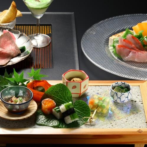 【2020夏の懐石】前菜・焼物(白老牛のたたき)強肴(金目鯛のしゃぶしゃぶ)
