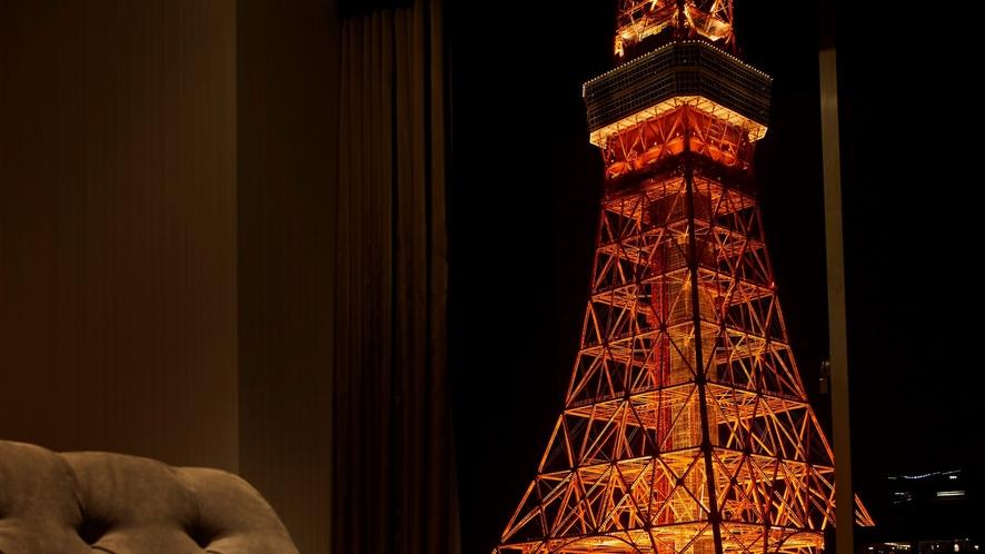 東京タワー側客室から見る東京タワー(イメージ)