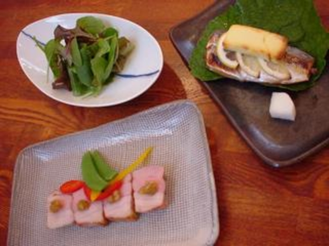鯵チーズ焼き 梅肉ポーク味噌焼き
