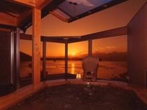 展望貸切露天風呂からの夕日