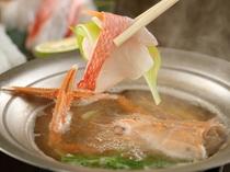 【夕食】季節の創作料理一例(本手長エビと金目鯛、季節野菜のしゃぶしゃぶ)