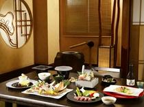 【夕食】完全個室のお食事処も