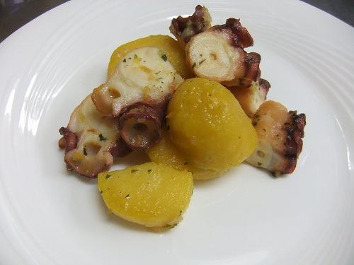 フルコースディナー(前菜・秋)|蛸とインカの温性サラダ