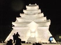 大雪像「会津 鶴ヶ城」at夜