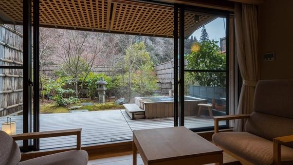 【庭園露天風呂付〇和室50平米】個室食事処