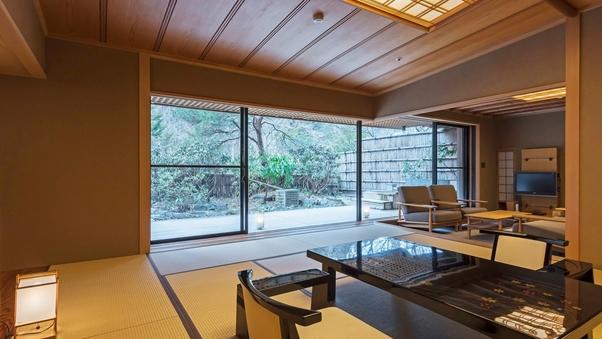 【庭園露天風呂付〇リビング付茶室風二間客室】個室食事処