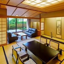庭園付き客室。広々とした空間は当館ならではです。