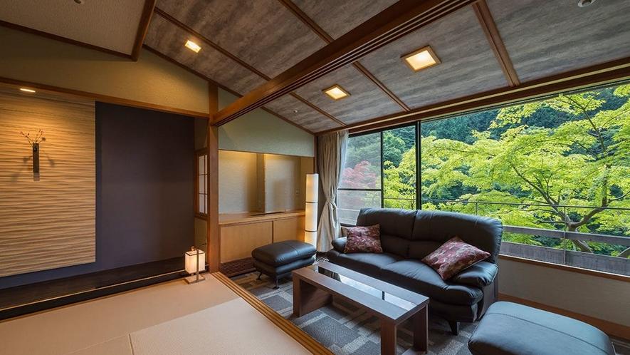 洗練されたインテリアの中にも落ち着きのある空間。和モダン客室