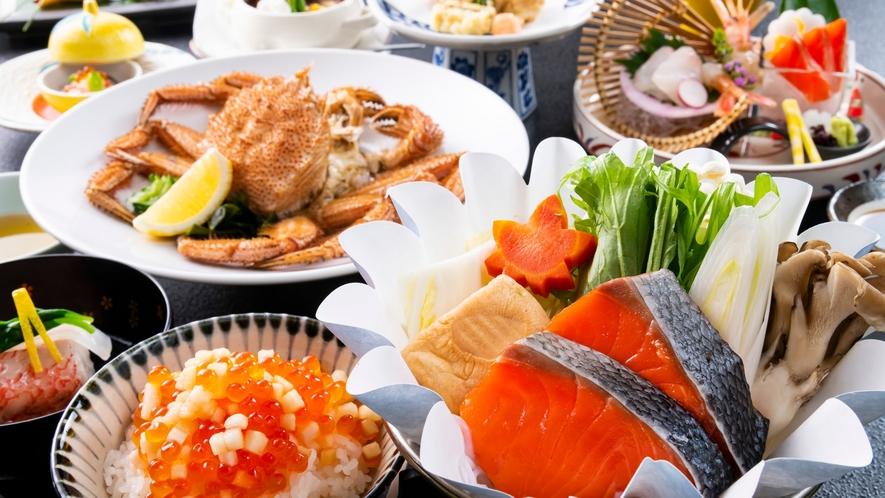 毛蟹、鮭、イクラ、、と北海道の厳選した素材を大満喫頂けるお料理です。