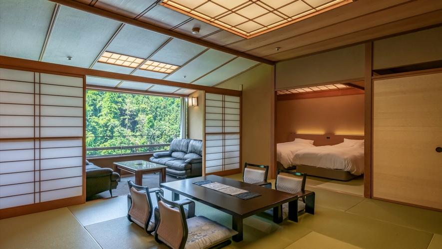 2019年1月リニューアル。二間客室の一部屋にツイン仕様のベッドを備えた和洋室