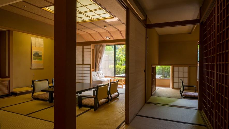 庭園付き客室。四季が織り成す美しい景色をお楽しみ頂けます