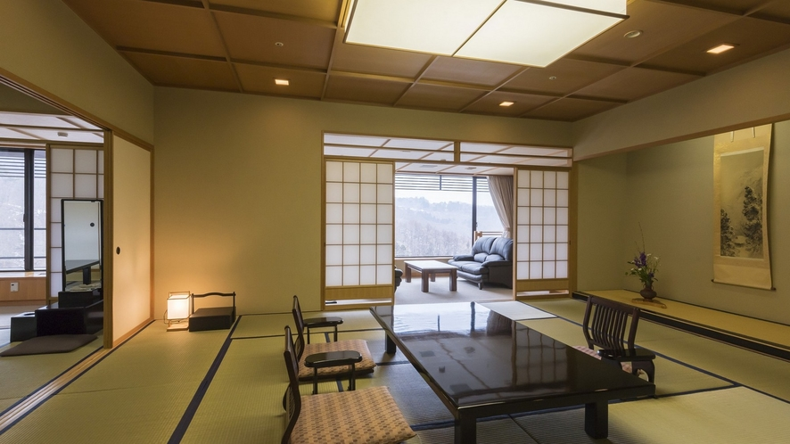 福一の貴賓室~夏には美しい緑、秋には紅葉を眺める伊香保の自然に包まれた客室。