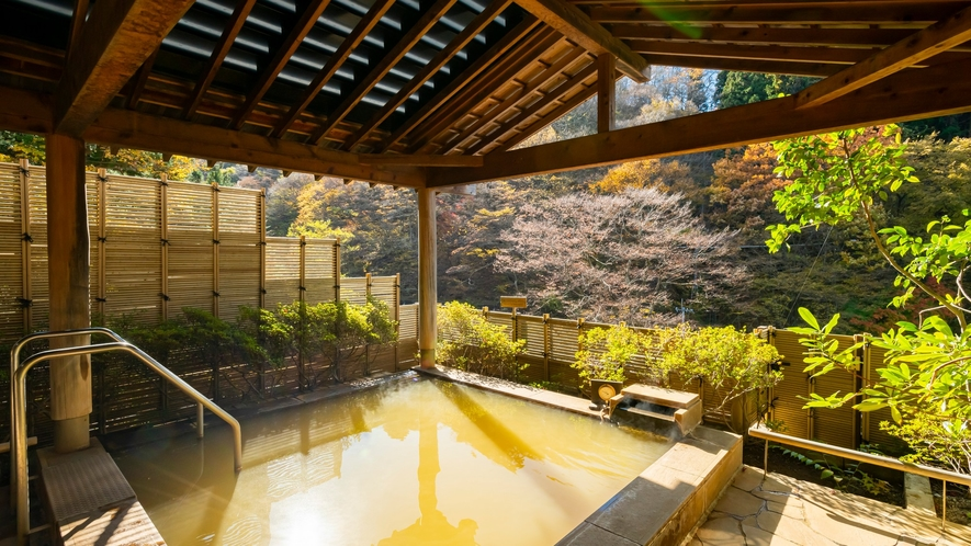 露天風呂。一面の山々を眺められるのは当宿の自慢の一つ。