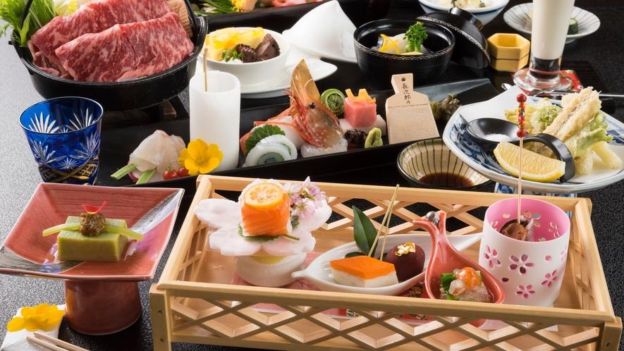 旬の山海盛り 彩鮮やかな、福一の会席料理をお愉しみください