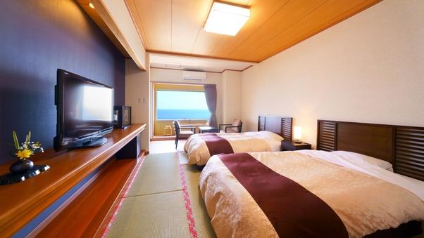 【半露天風呂付客室】海側和室 サータ社製セミダブルベット