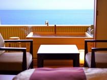 海を一望出来る半露天風呂付 海側和室