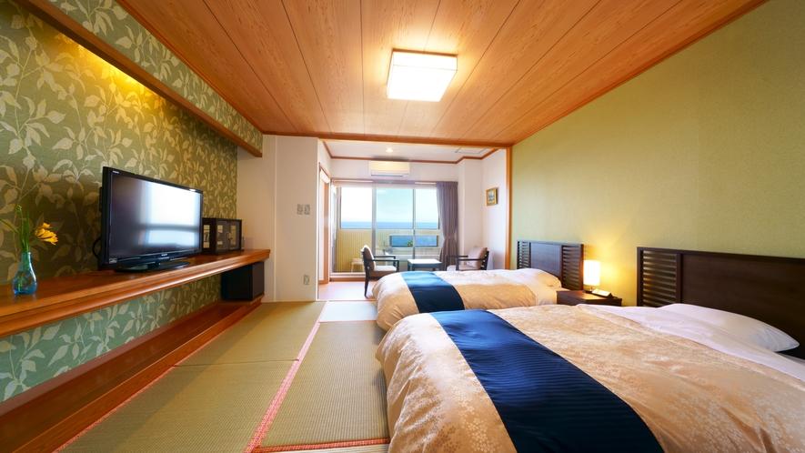 【半露天付客室】贅沢な海の景色 と シモンズベッドで心地よい眠りをお約束♪